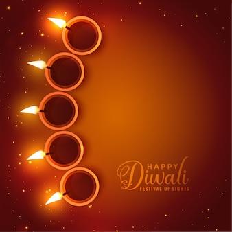 Carte de diwali heureux réaliste avec espace de texte