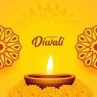 Carte diwali jaune avec décoration de fleurs de diya et de souci