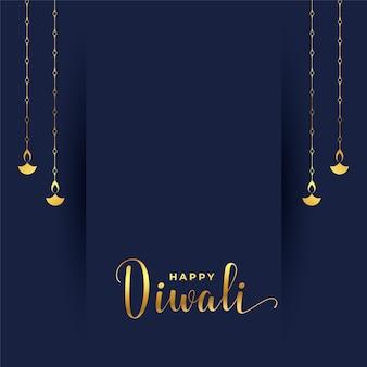 Carte diwali simple aux couleurs dorées suspendues diya