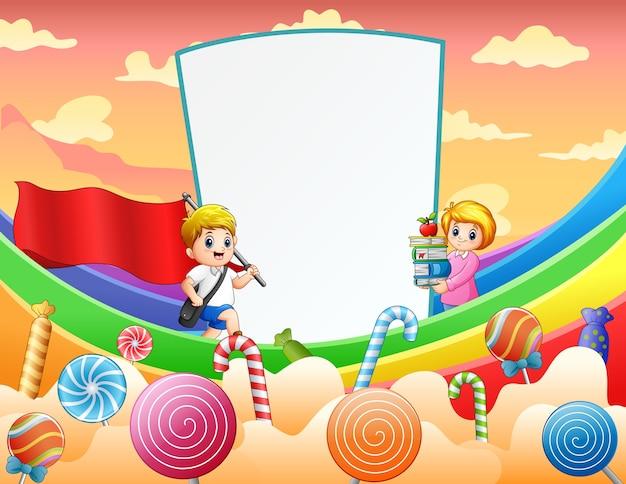 Carte douce avec garçon et enseignant sur arc-en-ciel