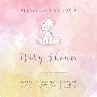 Carte de douche aquarelle bébé fille