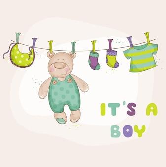Carte de douche ou d'arrivée de bébé ours