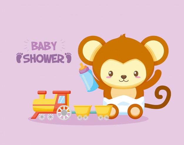 Carte de douche de bébé avec âne