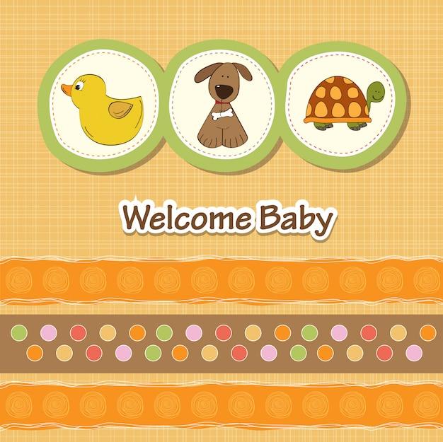 Carte de douche de bébé avec des animaux amusants