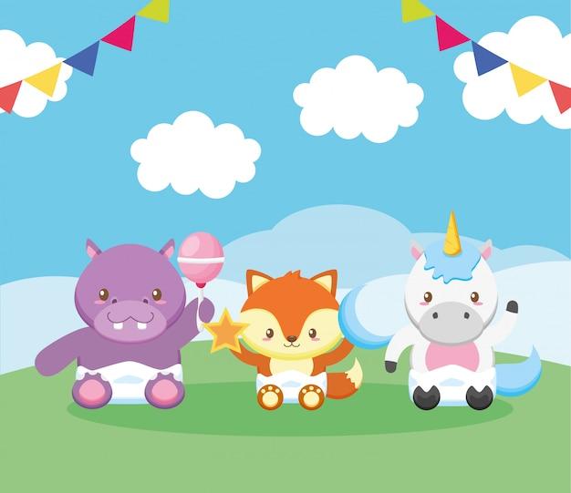 Carte de douche de bébé avec des animaux marrants