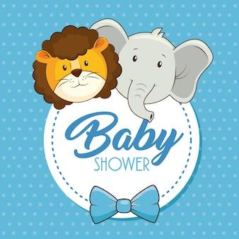 Carte de douche de bébé animaux mignons