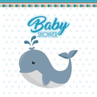 Carte de douche de bébé avec une baleine mignonne