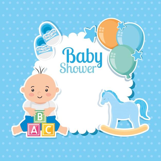 Carte de douche de bébé avec bébé garçon et décoration