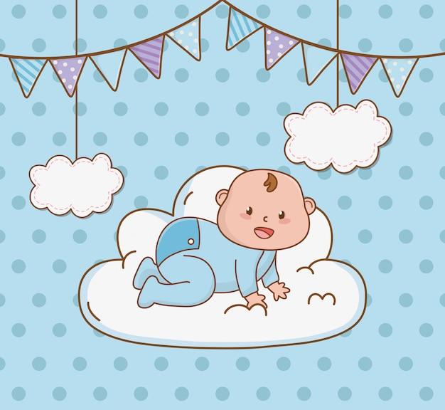 Carte de douche de bébé avec bébé petit garçon