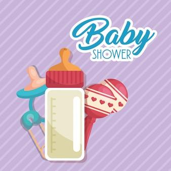 Carte de douche de bébé avec une bouteille de lait