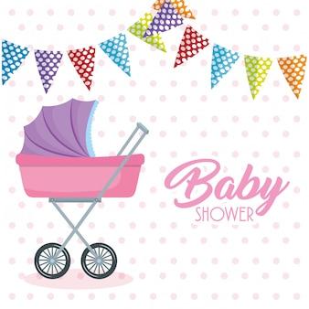 Carte de douche de bébé avec chariot