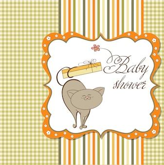 Carte de douche de bébé avec chat