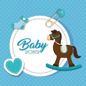 Carte de douche de bébé cheval en bois mignon