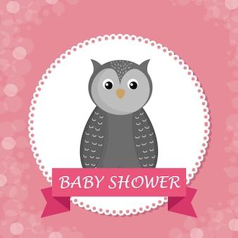 Carte de douche de bébé avec chouette mignon