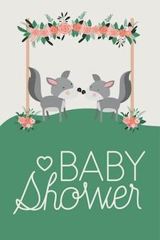 Carte de douche de bébé avec couple de chiens mignons