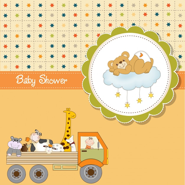 Carte de douche de bébé drôle de bande dessinée