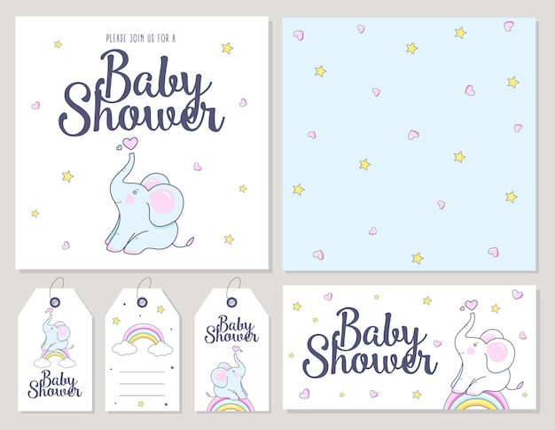 Carte de douche de bébé avec éléphant mignon.