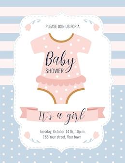 Carte de douche de bébé. c'est une fille.