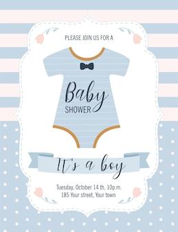 Carte de douche de bébé. c'est un garçon.
