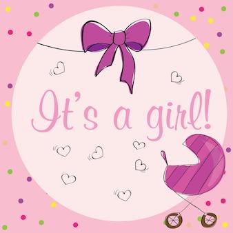 Carte de douche bébé fille - design rose - vector illustration