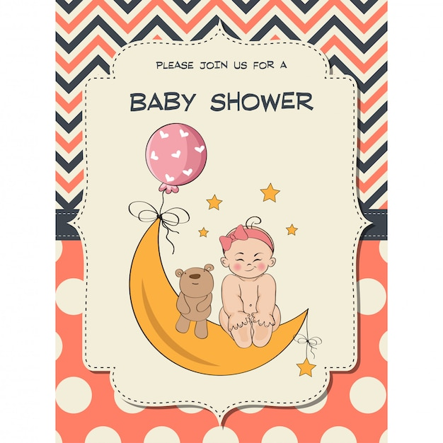 Carte de douche bébé fille
