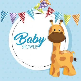 Carte de douche de bébé avec girafe mignonne