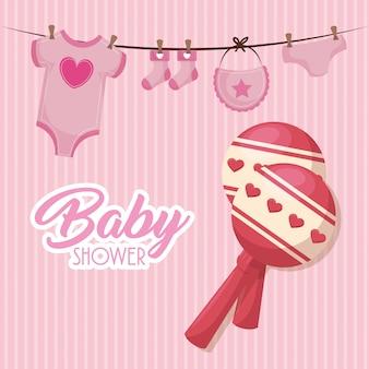 Carte de douche de bébé avec icônes définies