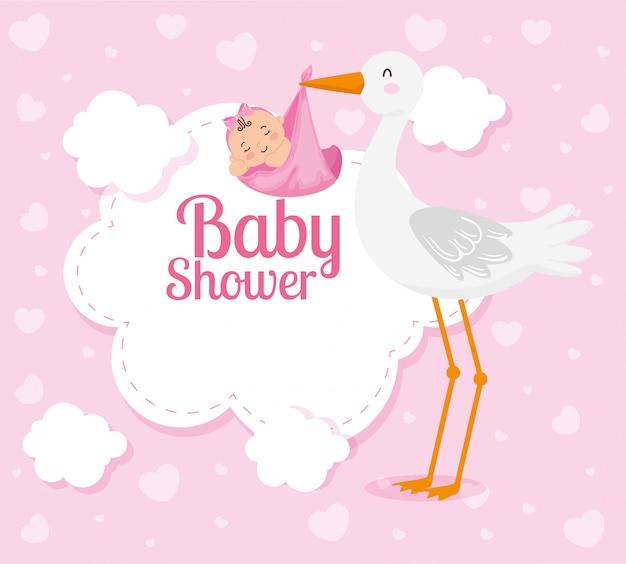 Carte de douche de bébé avec jolie cigogne et décoration