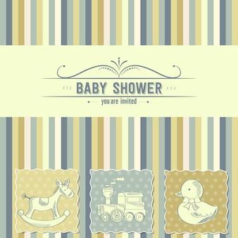 Carte de douche de bébé avec des jouets rétro