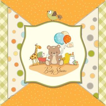 Carte de douche de bébé avec des jouets