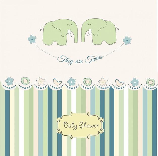 Carte de douche de bébé jumeaux