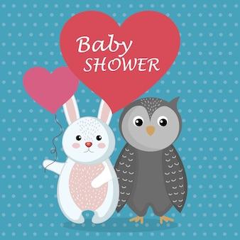 Carte de douche de bébé avec un lapin et une chouette mignons