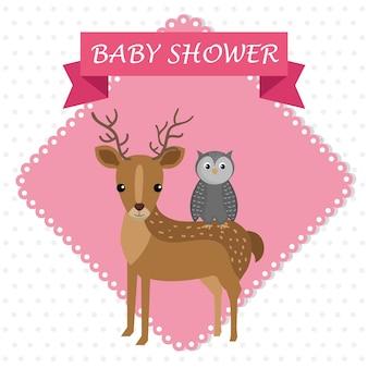 Carte de douche de bébé avec mignon renne et hibou