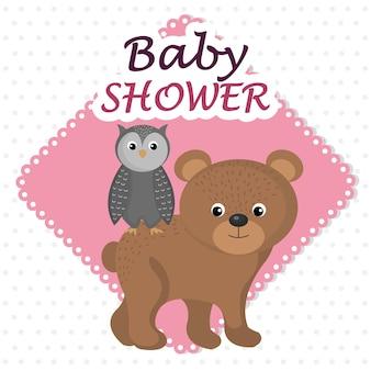 Carte de douche de bébé avec ours et chouette mignons