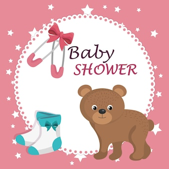 Carte de douche de bébé avec ours mignon