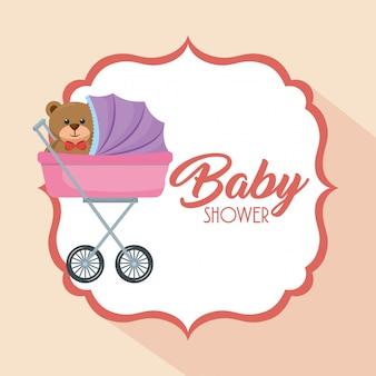 Carte de douche de bébé avec ours en peluche dans le panier