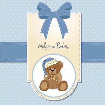 Carte de douche de bébé avec ours en peluche endormi