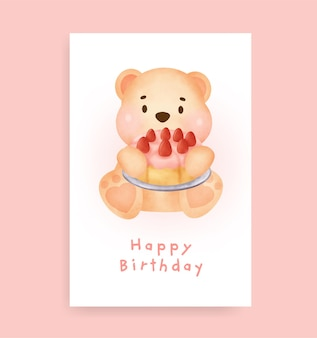 Carte de douche de bébé avec un ours en peluche mignon