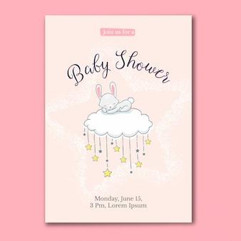 Carte de douche de bébé petit lapin dormant sur le nuage