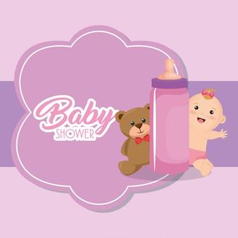 Carte de douche de bébé avec petite fille