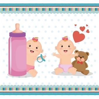 Carte de douche de bébé avec petits enfants