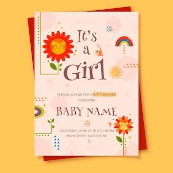 Carte de douche de bébé pour fille