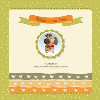 Carte de douche de bébé romantique avec chien