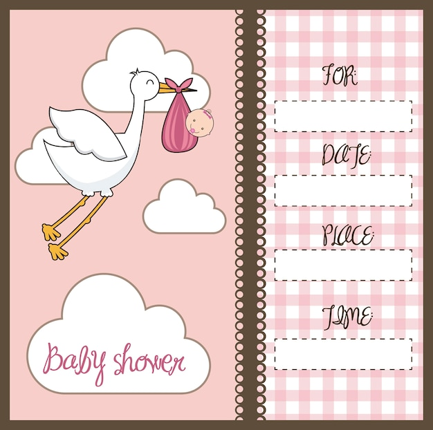 Carte de douche de bébé rose avec illustration vectorielle cigogne et bébé