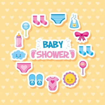 Carte de douche de bébé avec set d'icônes