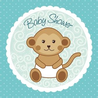 Carte de douche de bébé avec singe sur vecteur fond bleu
