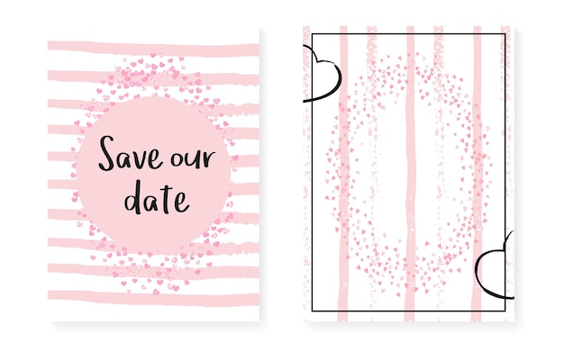 Carte de douche nuptiale à pois et paillettes. invitation de mariage sertie de confettis de paillettes roses. fond de rayures verticales. carte de douche nuptiale tendre pour la fête, l'événement, enregistrez le flyer de la date.