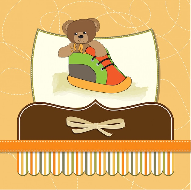 Carte de douche avec ours en peluche caché dans une chaussure