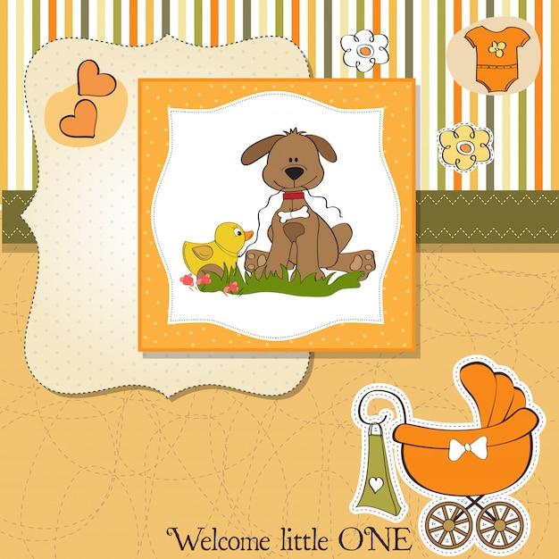 Carte de douche pour bébé avec jouet pour chien et canard