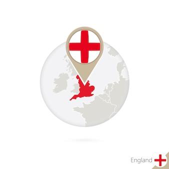 Carte et drapeau de l'angleterre en cercle. carte de l'angleterre, épinglette du drapeau de l'angleterre. carte de l'angleterre dans le style du globe. illustration vectorielle.